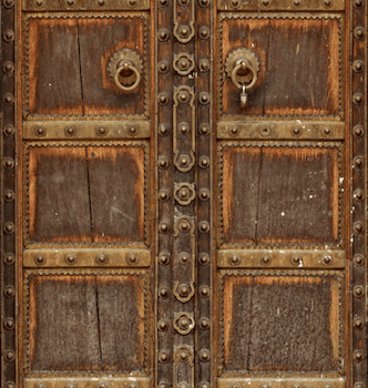 old bali doors in brown and iron