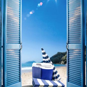 blue windows with beach and umbrella