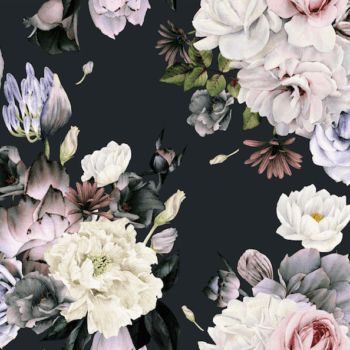 black background with soft flowers
