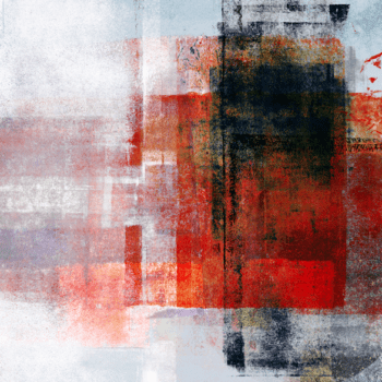 black, red and white painting